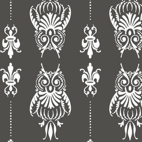 owl brocade in dark gray