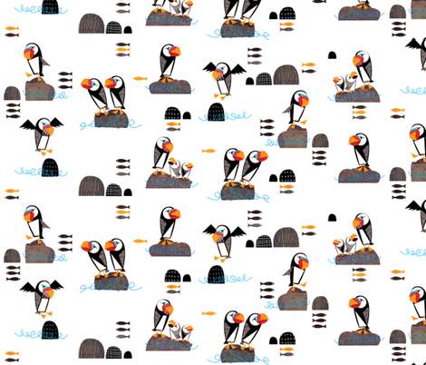Huffin and Puffin fabric by mulberry_tree on Spoonflower - custom fabric