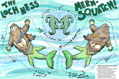 loch ness merm-squatch cut and sew  fabric by beesocks on Spoonflower - custom fabric