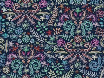 Colorful Chalkboard Floral Doodles