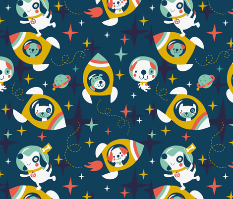 Rocket dogs fabric by bora on Spoonflower - custom fabric