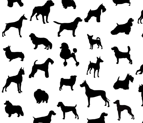 Mod Dog Silhouettes Black On White Large Scale Fabric By Lunaarts Spoonflower