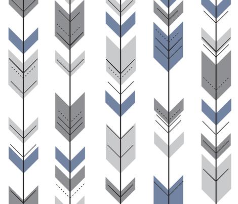 Fletching Arrows // Grey/Blue - Wild Lake collection fabric by littlearrowdesign on Spoonflower - custom fabric