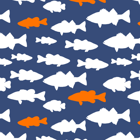fish // dark blue and orange fabric by littlearrowdesign on Spoonflower - custom fabric