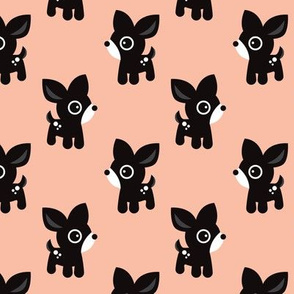 Cute coral kids deer illustration fun scandinavian trend pattern in pastel colors