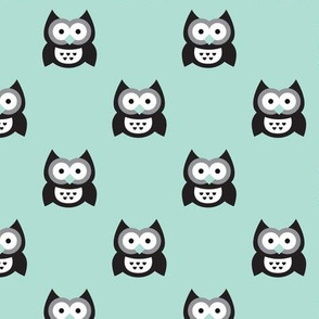 Cute mint blue kids owls illustration fun scandinavian trend pattern in pastel colors