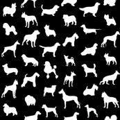 Mod-Dog Silhouettes White on Black Large Scale