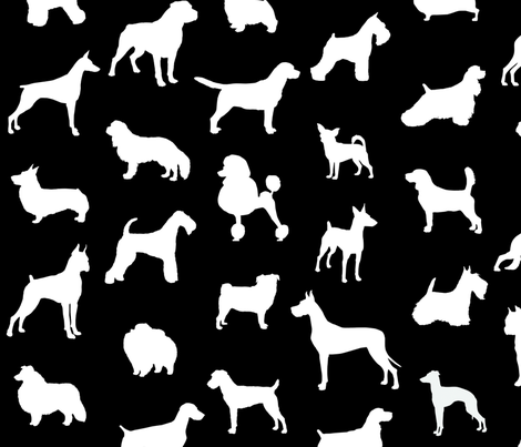 mod-dog silhouettes white on black large scale wallpaper