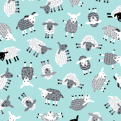Little ditsy sheep gray on baby blue