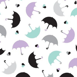 Pastel rainy days ove the rain vintage umbrella trendy kids illustration pattern