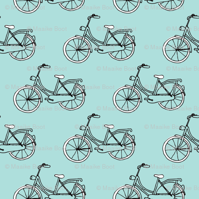 Black and blue hipster bike series quirky dutch theme illustration pattern