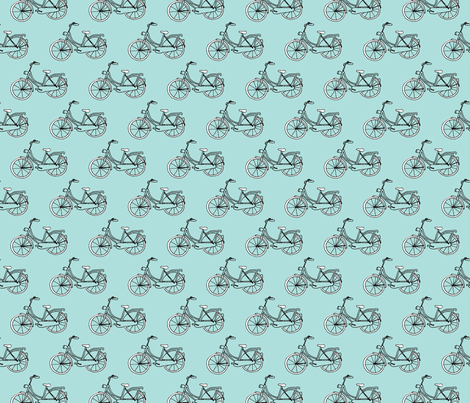 Black and blue hipster bike series quirky dutch theme illustration pattern fabric by littlesmilemakers on Spoonflower - custom fabric