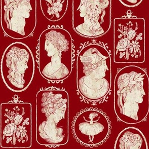 Cameos pattern - red