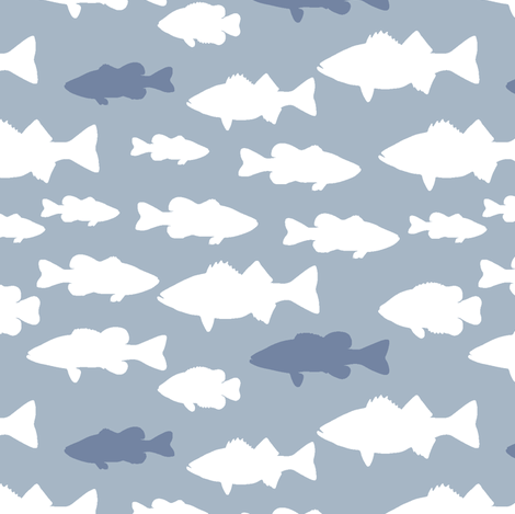 fish // blue fabric by littlearrowdesign on Spoonflower - custom fabric