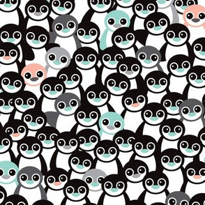 Cute little kids pattern in mint and coral adorable penguins winter illustration pattern