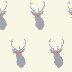 Smarty Pants Deer, Cream and Orange