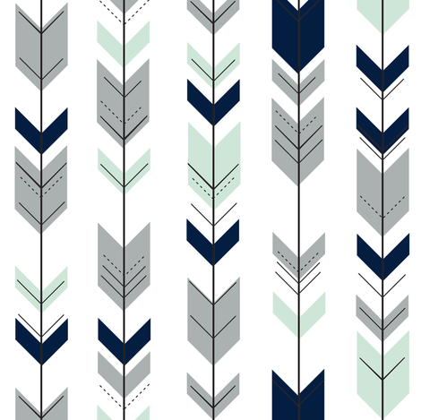 Fletching Arrows (small scale) // Northern Lights fabric by littlearrowdesign on Spoonflower - custom fabric