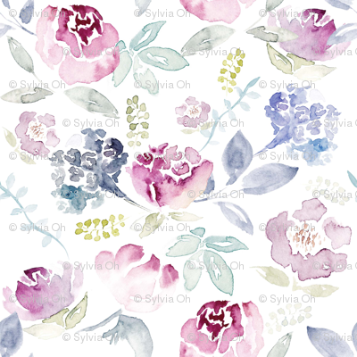 Watercolour Florals Vintage Faded Style on White LARGE