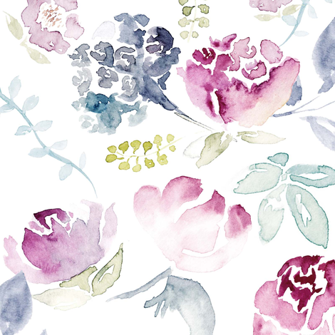 Watercolour Florals Vintage Faded Style on White LARGE fabric by sylviaoh on Spoonflower - custom fabric