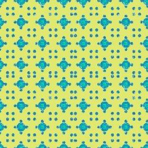 block-print-circle-dots-blue-yellow