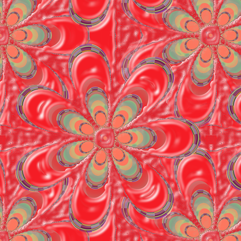 Psychedelic Red Flower fabric by eclectic_house on Spoonflower - custom fabric