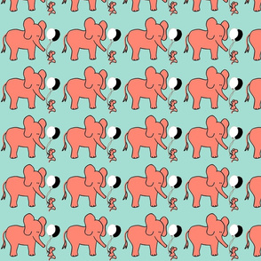 Let's be Friends Elephant and Mouse in Coral Mint Black