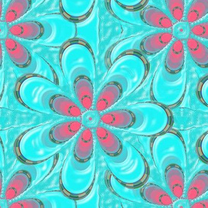 Psychedelic Aqua Pink Flower
