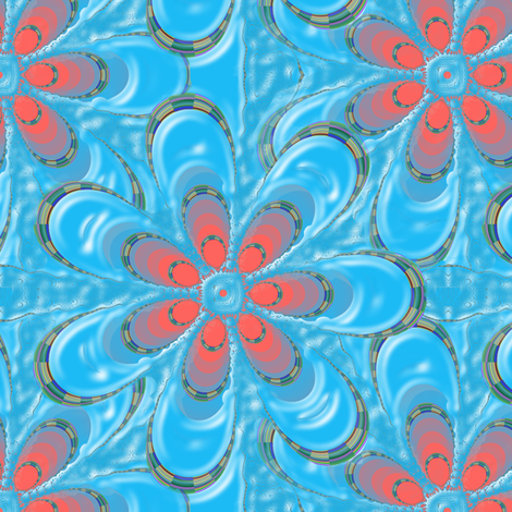 Psychedelic Blue Flower fabric by eclectic_house on Spoonflower - custom fabric