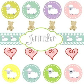 Sheep & Teddy Hearts -Gray Personalized