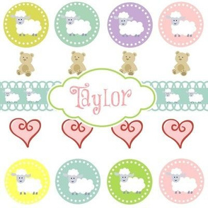 Sheep & Teddy Hearts -Sorbet  Personalized -ed-ed
