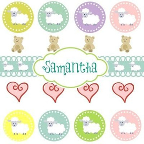 Sheep & Teddy Hearts -Teal  Personalized -ed-ed