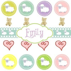 Sheep & Teddy Hearts -Lavender  Personalized -ed-ed