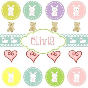 Bunnies &Teddy Hearts - Sorbet Personalized -ed-ed-ed-ed