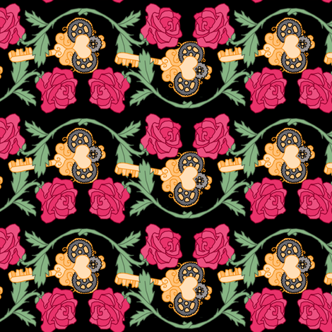Steampunk Key to my Heart fabric by pond_ripple on Spoonflower - custom fabric