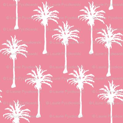 White Palm Trees on Dark Pink