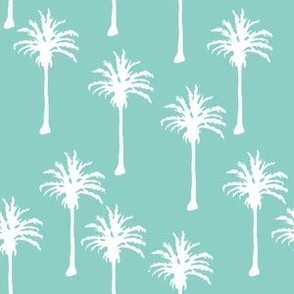 White Palm Trees on Teal