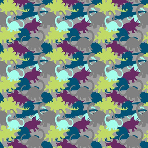 Camo Dino Design in Blues, Purples, Green & Grays