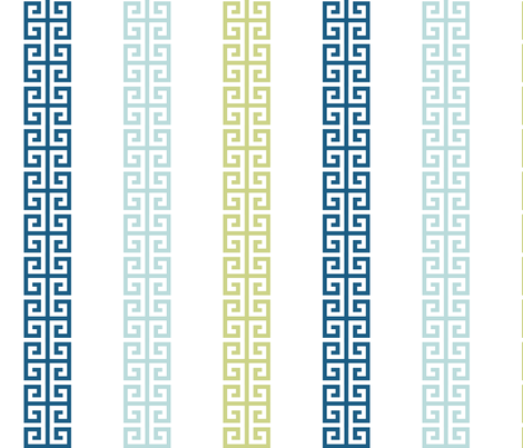 greek_key_stripe_ Blue greens fabric by danika_herrick on Spoonflower - custom fabric
