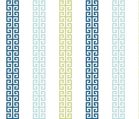greek_key_stripe_ Blue greens fabric by danikaherrick on Spoonflower - custom fabric