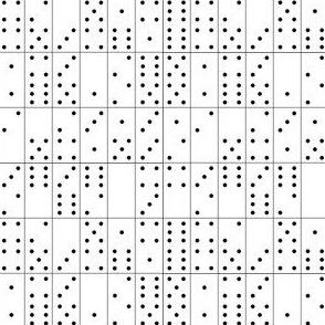 Domino Universe (Black on White) || dominoes game geometric polka dots low volume
