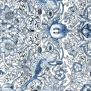 William Morris ~ Strawberry Thief ~ Blue and White ~ Light ~ Border Print