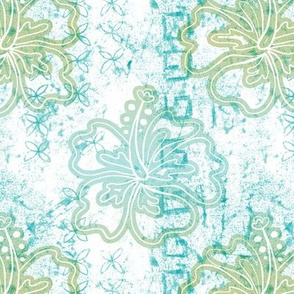 Hibiscus batik - blue green on white