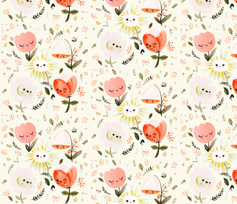 Dreamy Spring - Happy Flowers fabric by ginamayes on Spoonflower - custom fabric