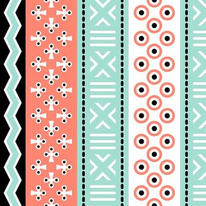 03909406 : mudcloth : coral mint black white