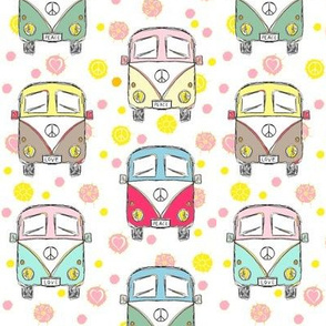 camper hippie pink white