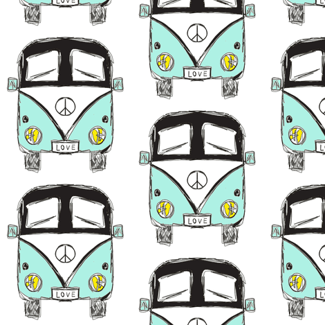 camper black turquoise - by MiaMea  fabric by miamea on Spoonflower - custom fabric