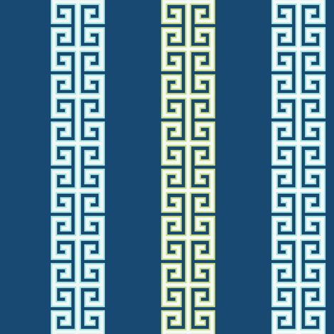 greek_key_stripe_two_on_blueoutlineai fabric by danikaherrick on Spoonflower - custom fabric