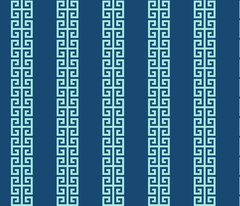 Greek_Key_Stripe in Aqua on Navy fabric by danika_herrick on Spoonflower - custom fabric