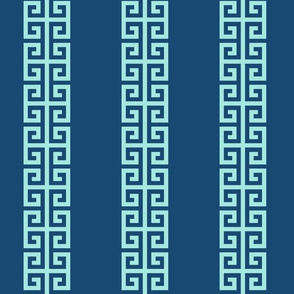 Greek_Key_Stripe in Aqua on Navy