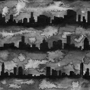 Australia skyline black and white